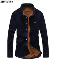 2018 Fashion Mens Flannel Quality winter shirt Men Slim Fit Long Sleeve Thermal Warm Velvet padded Hawaiian Shirt