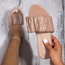 Mulher verão casual plissado chinelo calçados de moda feminina 2021 sapatos de praia de couro do plutônio