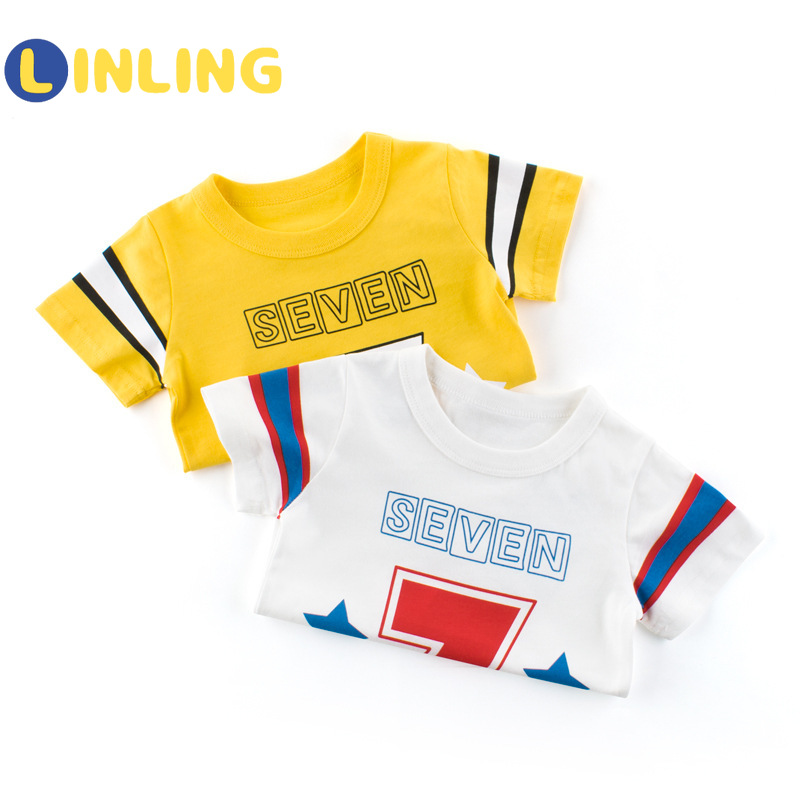 LINLING Kids T Shirts 2021 Summer Boys Girls Letter Cute Short Sleeve T Shirts Baby Child Cotton Tops Tees Fashion Clothes V17 3