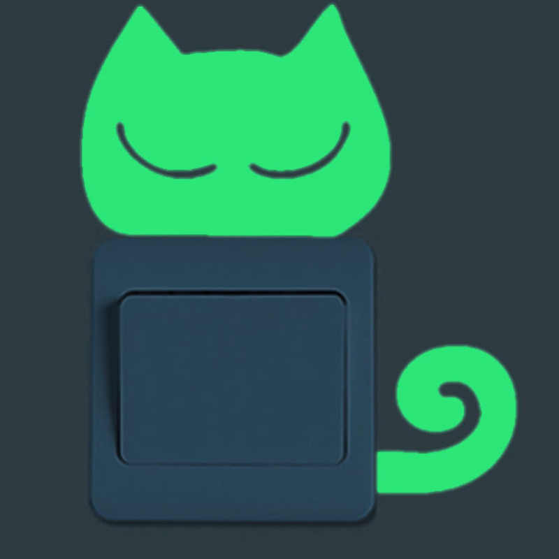 Urijk 만화 빛나는 스위치 스티커 어두운 벽에 스티커 고양이 요정 문 스타 홈 장식 아이 방 장식 스티커 데 칼