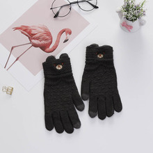 Fashion Winter Women Gloves Cartoon Knitted Full Finger Soft Warm Touch Screen Gloves Guantes For Girls Mittens gloves knitted women touch screen 2019 new winter soft rabbit wool knitted gloves warm lovely girls pink heart mittens gloves
