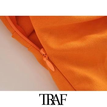 TRAF Women Chic Fashion Button-up Draped Midi Shirt Dress Vintage Short Sleeve Side Zipper Female Dresses Vestidos 6