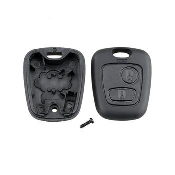 For Peugeot Two Buttons Straight No Embryo 206 Key Set Socket Automobile Parts Black Plastic Key Case image