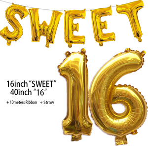 Image 2 - Sweet 16 Party Decorations Supplies Sixteen Birthday Decorations 16 Years Birthday Number Foil Balloons