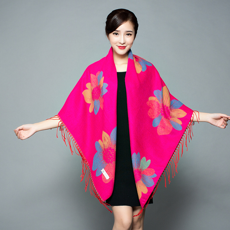 New Scarf Women Double-sided Oversized Napped Square Scarf Warm Autumn And Winter Thick Shawl Cloak Shawl