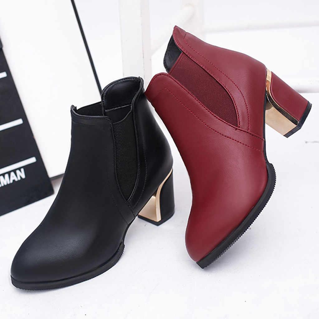 Bande élastique bottines pour femmes mode bout pointu talon haut Bottes courtes hiver femmes chaussures mère 'bottillons Bottes Femme