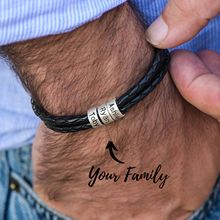 Personalized Mens Braided Genuine Leather Bracelet Stainless Steel Custom Beads Name Charm for Men with Family Names