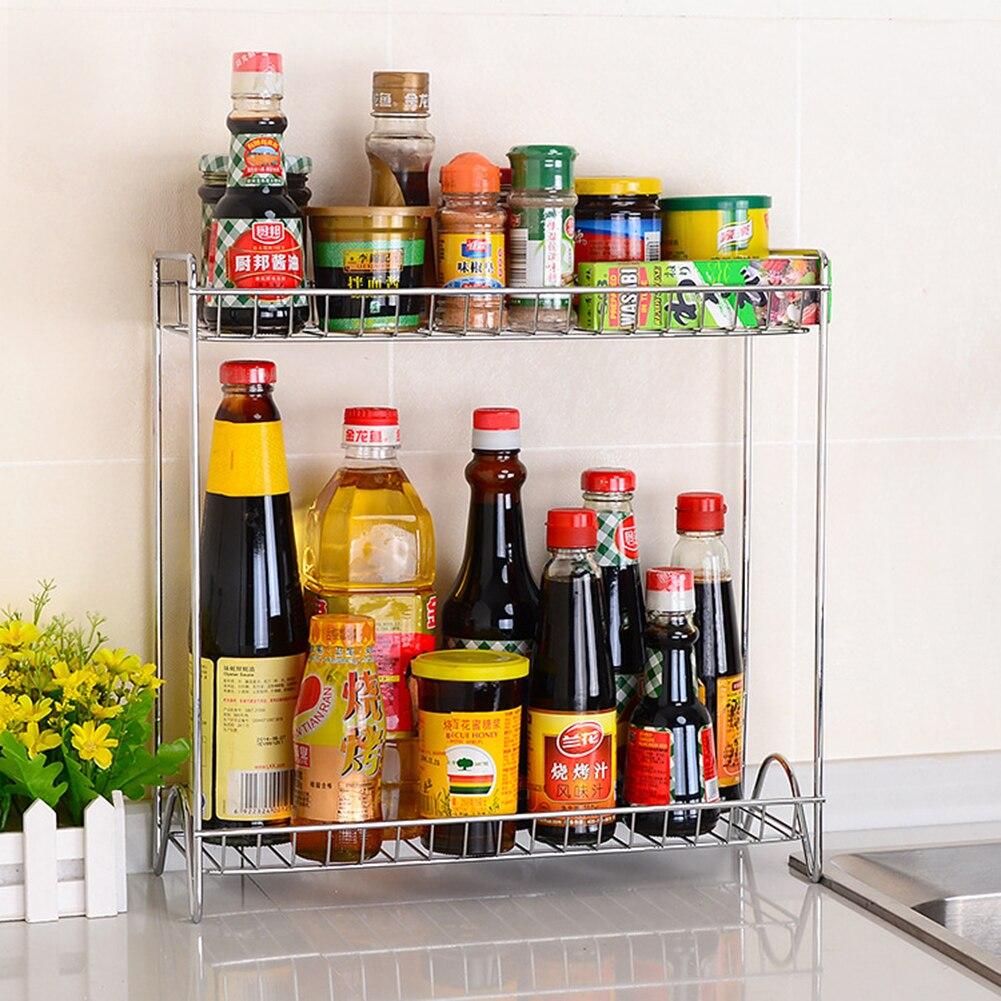 Kitchen Organizer Spice Jar Shelf Organizer 2 Tier Stainless Steel Spice Bottle Rack Holder Storage Kitchen Countertop Shelves|Racks & Holders| |  - title=