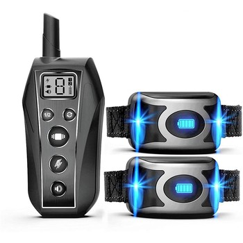 IPX7 Waterproof Rechargeable Remote Pet Dog Training Collar Beep Vibration Shock E Collar Dog Trainer For 2 Dogs