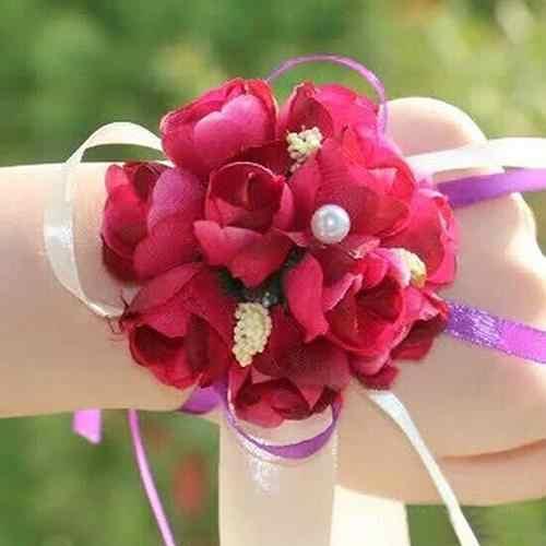 Pulsera de flores para la muñeca para dama de honor, para fiesta de boda, para graduación nupcial, con decoración de desmaleza, pulseras de flores para dama de honor