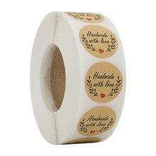 100-500 pçs artesanal amor adesivos selo etiquetas marrom festa decoração casamento adesivos diy artesanal papelaria adesivos
