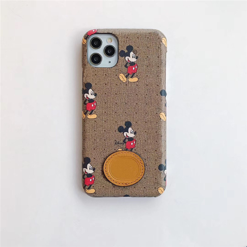 Luxury fashion cartoon cute mickey with LOGO phone case for iPhone 11 pro max XS 6splus cover for iPhone 6 7 8 Plus 6s XR coque|Half-wrapped Cases| - AliExpress
