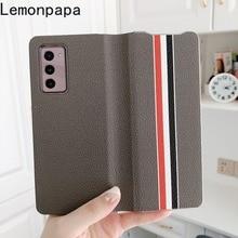 Luxe Lederen Flip Telefoon Case Wallet Case Voor Samsung Galaxy Z Vouw 2 5G Case Volledige Beschermhoes Voor galaxy Z Vouw 2 Case