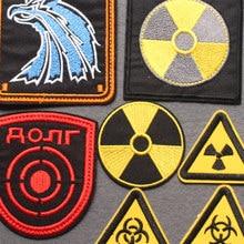 Patchs de signe d'avertissement biochimique nucléaire, Badge de traqueur, patchs brodés sur les vêtements, accessoires de bricolage Punk à rayures