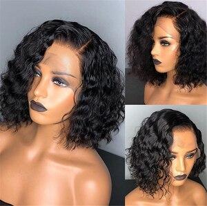 Image 2 - 150% remy preto curto encaracolado 13x4 frente do laço perucas de cabelo humano com o cabelo do bebê brasileiro mel loira bob peruca corte para a mulher preta