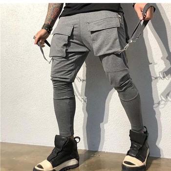 2020 Streetwear męskie spodnie bojówki multi-pocket przyczynowe taktyczne biegaczy męskie spodnie bojówki mody ołówek spodnie męskie odzież Bramd tanie i dobre opinie NoEnName_Null Cargo pants Na co dzień Sznurek Mieszkanie Pełnej długości Poliester REGULAR 2 5 - 2 7 Kieszenie ZTKCCK-03