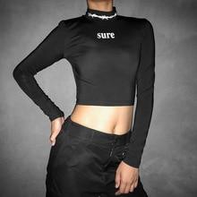 Goocheer Black T-Shirts Sexy Open Back Letter Print Shirts Femme Club Women Shirts Harajuku 2019 New Long Sleeve Tops