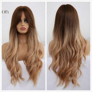 Image 5 - Длинные Синтетические парики для женщин, с эффектом омбре