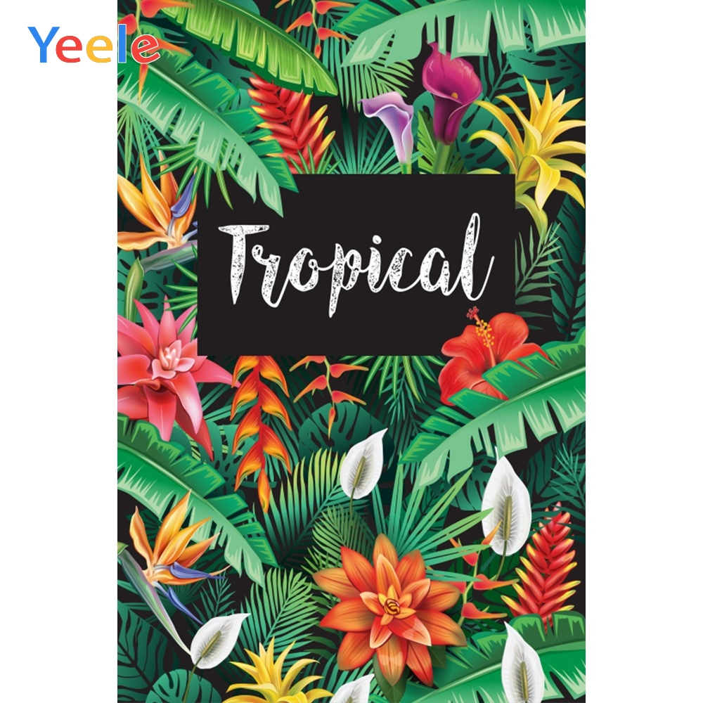 Palms Tree Leaves Vinyl Tropical Birthday Party Poster Portrait Photocall Family Shoot Photography Backdrop For Photo Background