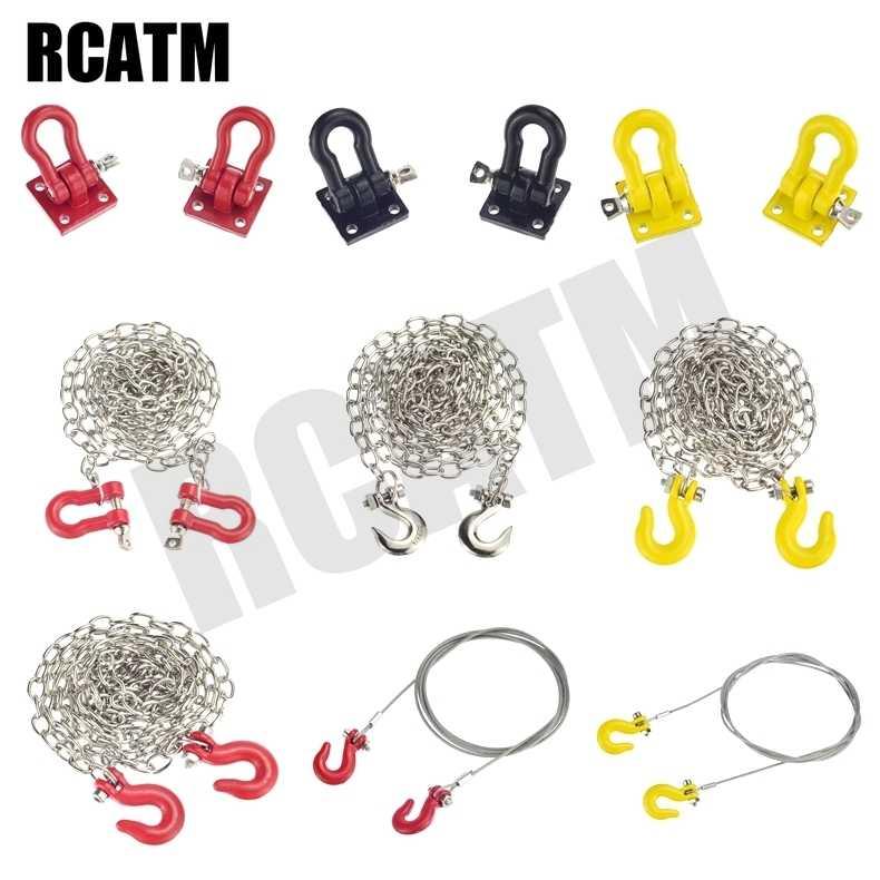 Gancho de Metal para remolque, decoración de cadena de rescate para coche trepador de control remoto 1/10 TRX4 G63 D90 Axial Scx10 III Wraith Tamiya VS4