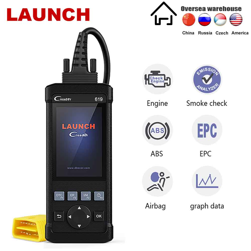 LAUNCH OBD2 ABS SRS Scanner X431 Creader CR619 Check Car Computer Engine ABS Airbag Light Fault Code Readers Automotive Diagnostic Scan Tool with EVAP//O2 Test