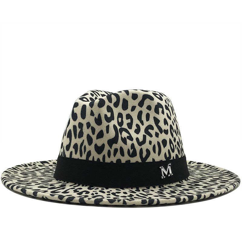 Unisex Rata Wol Merasa M Logo Jazz Fedora Topi Pria Wanita Leopard Grain Kulit Band Dekorasi Trilby Panama Formal topi 60 Cm