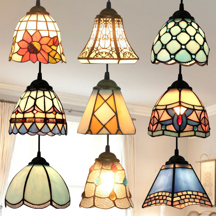 Stained Glass Pendant Light Hanging Lamp Accent Novelty Lamp Light Fixture Unique New Year X'mas Gift Lustre Pendente