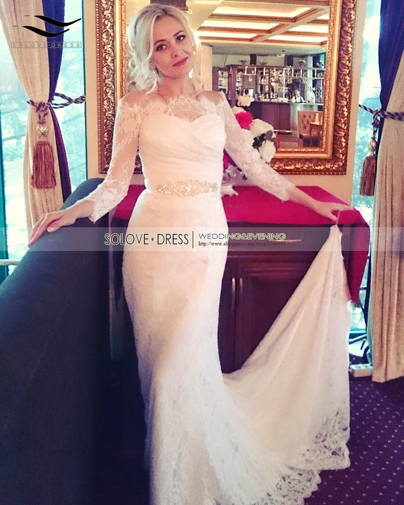 Real Photo White Lace Cheap Boat Neck Three Quarters Sleeves Wedding Dress 2017 Vintage Sash Bride Dress vestido De noiva SLDW81