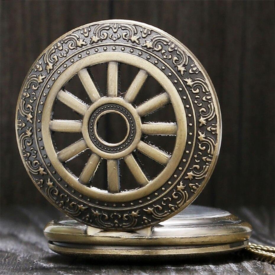 Exquisite Bronze Hollow Hunter Quartz Pocket Watch Arabic Numerals Display Pendant Necklace Clock Men Women With Fob Chain