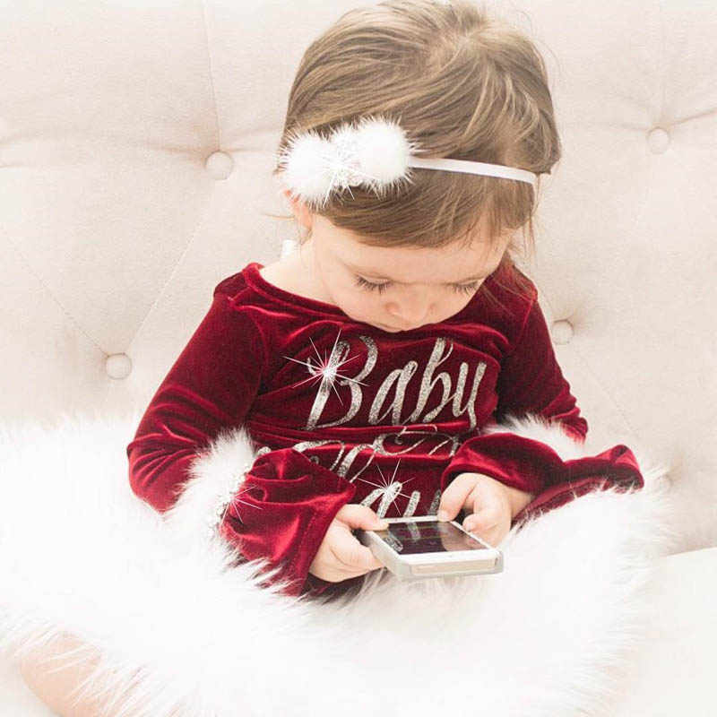 Newborn Baby Rompers Christmas Baby Girl Clothes Outfits Princess Plush Clothes Babies Xmas Jumpsuits Infant Bebe Long Sleeves