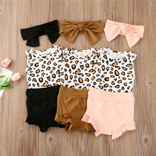 Summer Newborn Baby Girls Cotton Clothes Sleeveless Leopard Printed Romper Tops + Shorts Pants + Headband Toddler 3Pcs Outfits