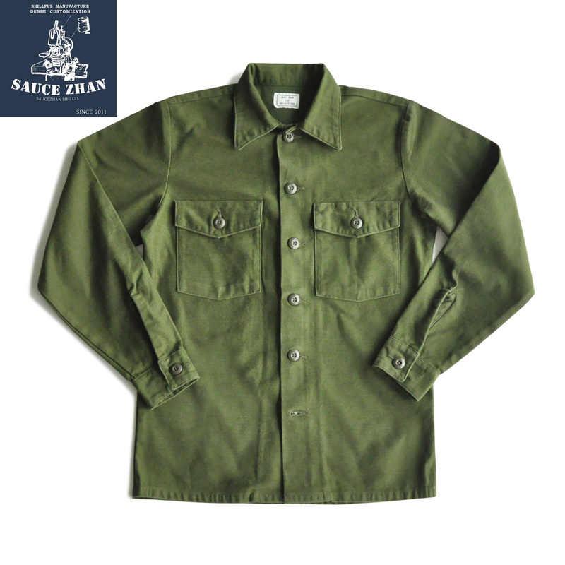 Saucezhan Og-107 유틸리티 피로 셔츠 원래 빈티지 코튼 셔츠 남성 셔츠 긴 소매 셔츠 망 드레스 셔츠 빈티지 셔츠