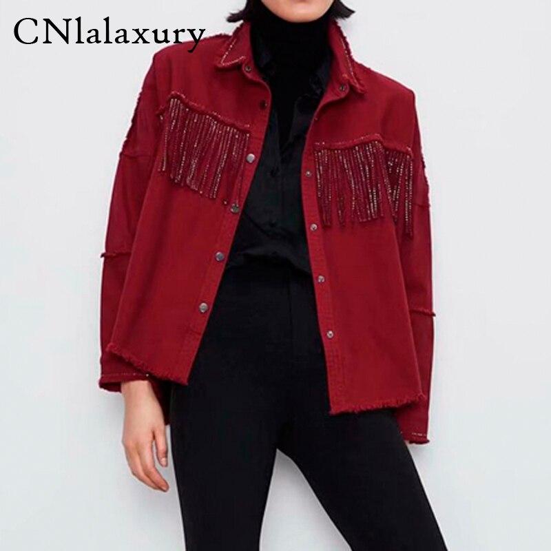 Женская джинсовая куртка с бахромой оверсайз 2020, винтажная джинсовая куртка с длинным рукавом, женская верхняя одежда с кисточками, шикарные топы|Куртки|   | АлиЭкспресс