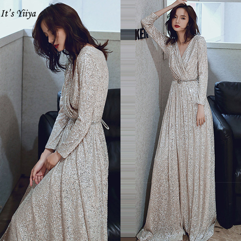 Sequined Evening Dresses It's Yiiya K027 Elegant Plus Size Robe De Soiree V-neck Evening Dress Long Sleeves A-line Evening Gown