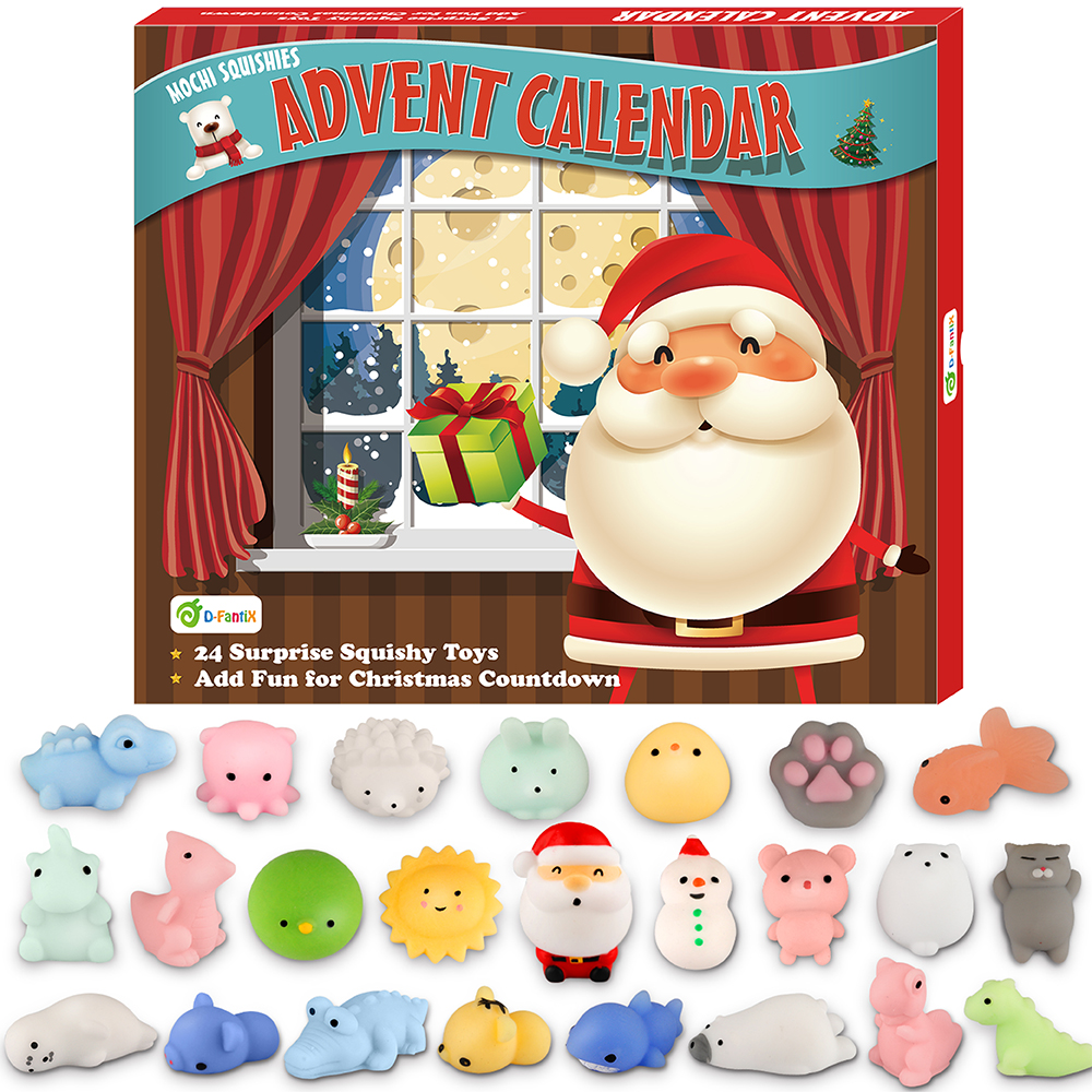 D-FantiX Mochi Squishy Toys Advent Calendar 2019 Christmas Countdown Calendar 24Pcs Kawaii Squishies Animals Relief Stress Toys
