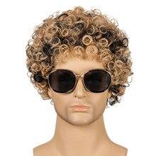 GURUILAGU афро курчавые вьющиеся парики для мужчин Омбре черный коричневый косплей парик короткий синтетический парик для мужчин натуральный п...