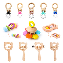 Wooden Rattles For Kids Baby Toys 0 4 6 12 Months Newborn Infant Montessori Educational Toy 0 Up To 1 Year Games For Babies Gift