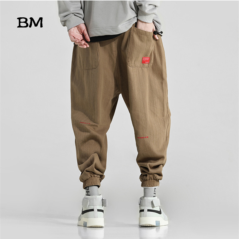 Streetwear Khaki Joggers Hip Hop Fashions Korean Style Pants Men High Quality Sweatpants Embroidery Korean Style Harem Pants