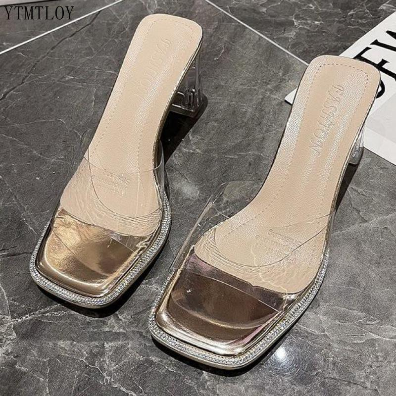 PVC Slippers Ladies Transparent High Heels Peep Toe Crystal Clear Slides Mules Women Summer Zapatillas De Casa Sapato Feminino Slippers  - AliExpress