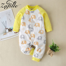 ZAFILLE 2020 Cotton Baby Romper Long Sleeve Baby Clothing Unisex Newborn Infant Baby Girl Clothes Elephant Printed Baby Jumpsuit