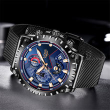 Часы наручные lige Мужские кварцевые модные брендовые Роскошные