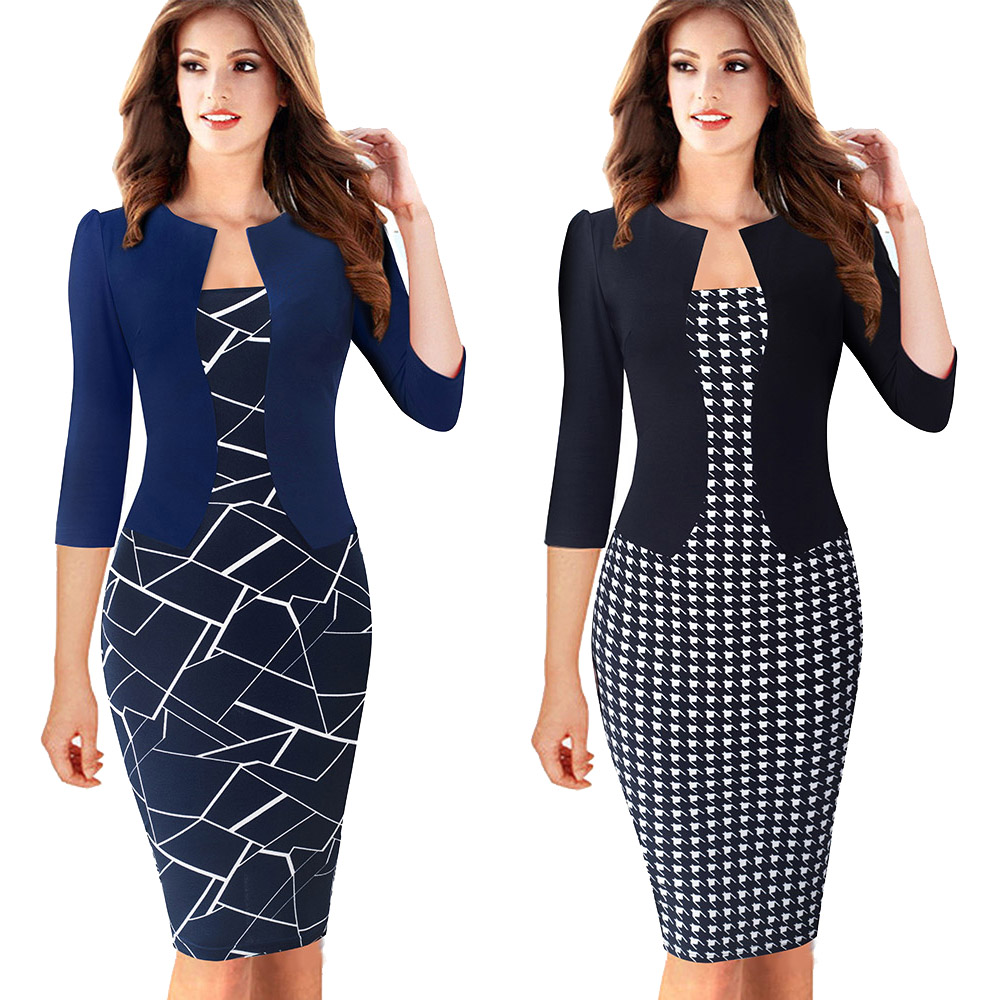 Nice-forever One-piece Faux Jacket Brief Elegant Patterns Work dress Office Bodycon Female 3/4 Or Full Sleeve Sheath Dress b237 4