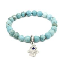 Hamasa hand Smooth Stone Beads Bracelets For Women Men Elastic Hand Jewelry DropShipping