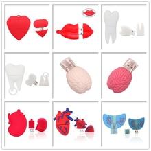 USB stick pen drive 128g Mini cartoon heart brain  usb flash drive 4g 8g 16g 32g 64g memory disk mouth / kidney / teeth pendrive