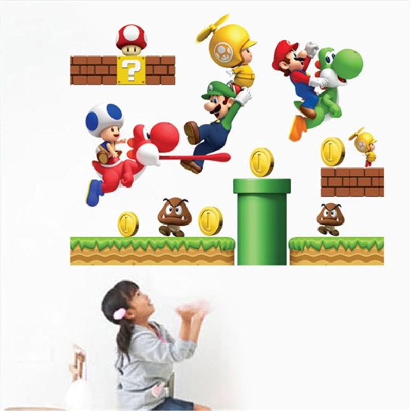 Hot Mario Bros Sticker Waterproof Multi Color  Mario  Game Party Stickers Toy For Kids Sticker
