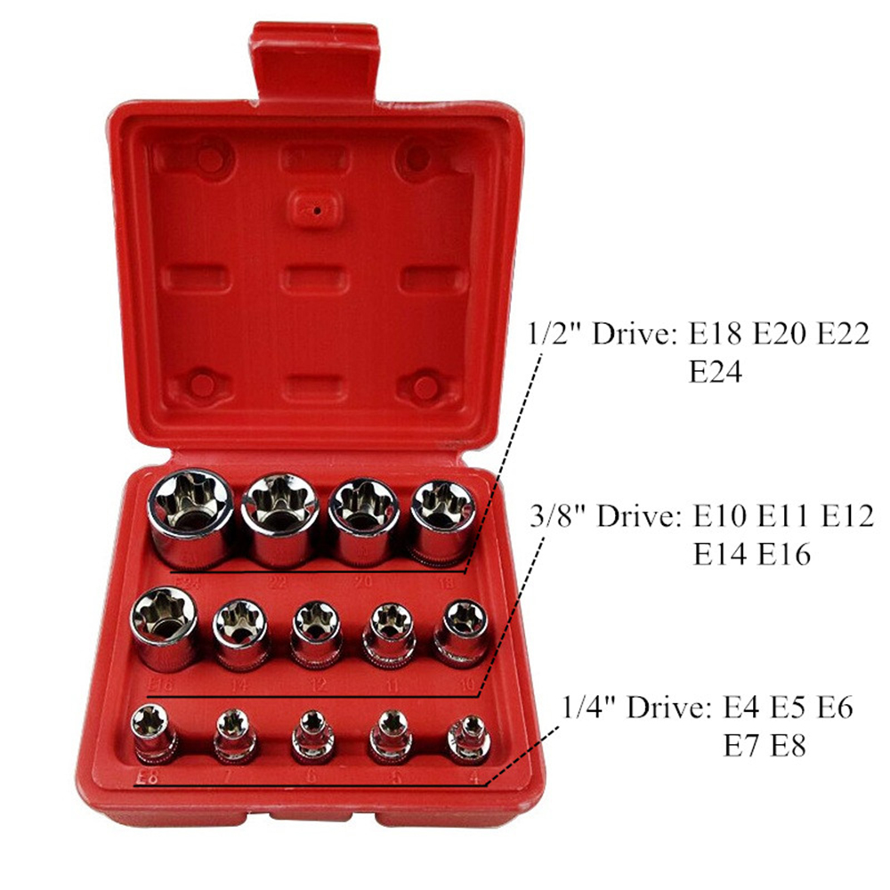 14PC Professional Sockets E4-E24 Torx Torque Bits Tools Set Socket Set For House Car Machine Repair Mechanic Tools Tool Kit
