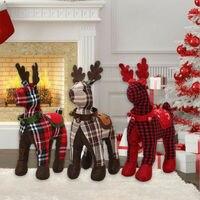Рождественский плед олень решетка плюшевая стоящая кукла Домашнее окно стол орнамент подарок