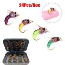 4-24 pçs para a pesca da truta isca de inseto artificial isca de pesca cabeça de latão grânulo rápido afundando ninfa scud mosca inseto worm