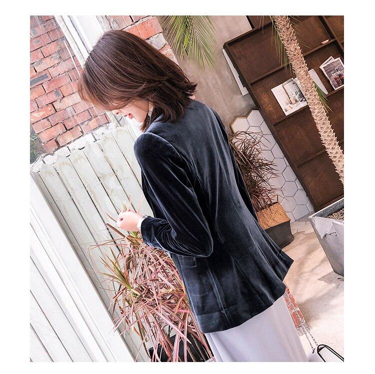 New Fashion 2020 Autumn Gold Velvet Elegant Blazer Women Slim One Button Suit Office Lady Work Wear High Quality LX2204