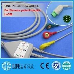 Cabo ecg com 3 fios de chumbo snap para o monitor paciente de siemens